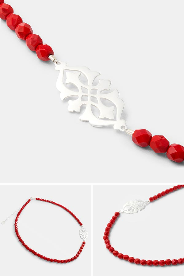 Arabesque sterling silver statement necklace with red beads. A bit of old world glamor to brighten up your day. Handmade jewelry online store.