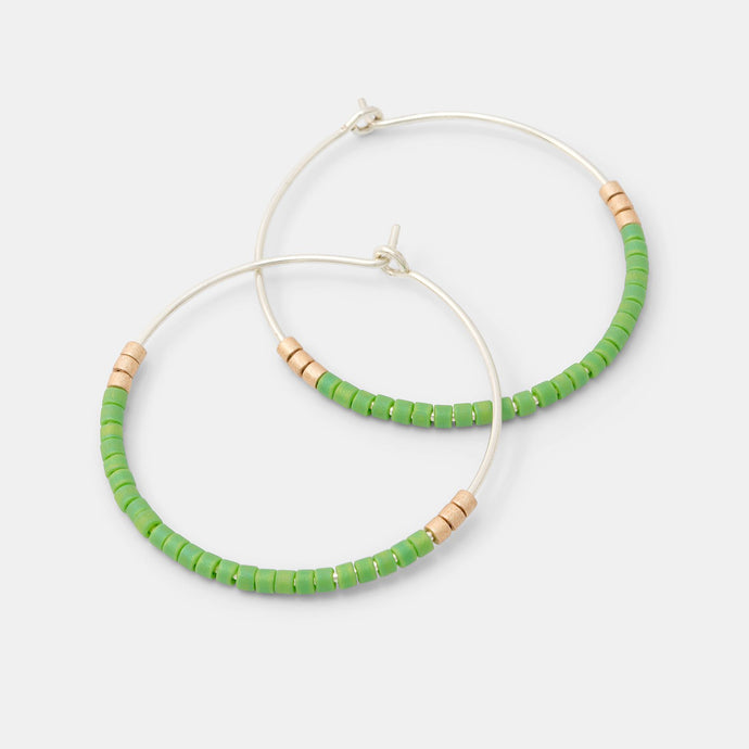 Beaded hoop earrings: green & gold