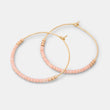 Beaded hoop earrings: pink & gold