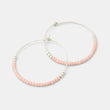 Beaded hoop earrings: pink & silver