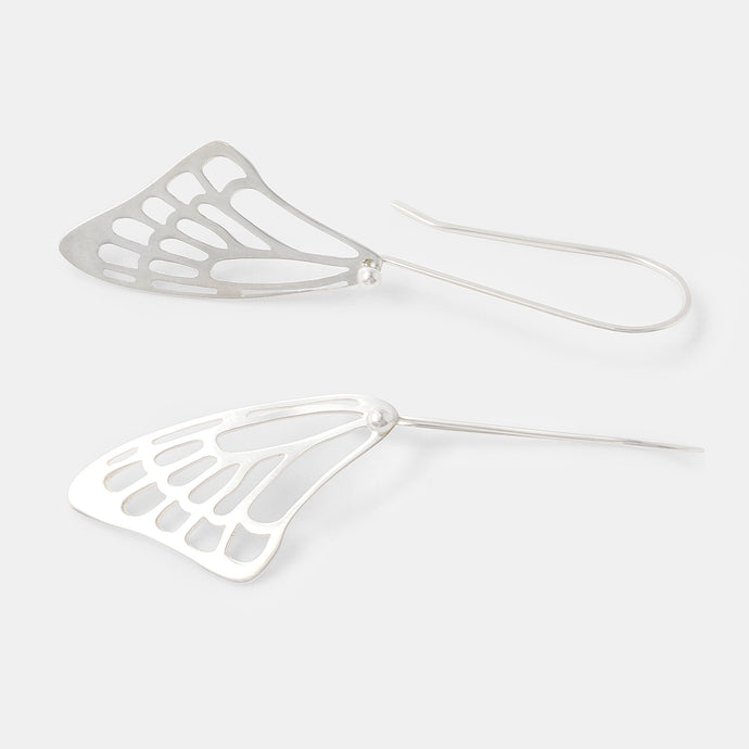Butterfly wing earrings in sterling silver in our online jewelry store.