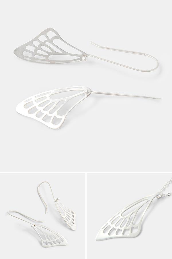 Sterling silver butterfly wing earrings: unique handmade silver jewelry by Simone Walsh. Shop online in the USA.