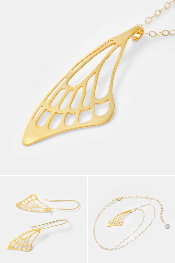 Butterfly wing pendant necklace in gold vermeil by handmade jewelry designer Simone Walsh. Shop online for handmade jewelry.