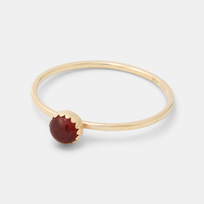 Carnelian & solid gold stacking ring