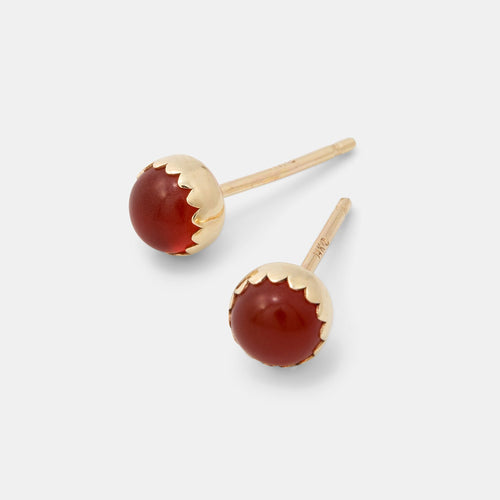 Carnelian & solid gold stud earrings