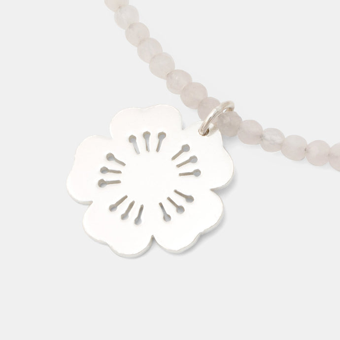 Cherry blossom on rose quartz necklace