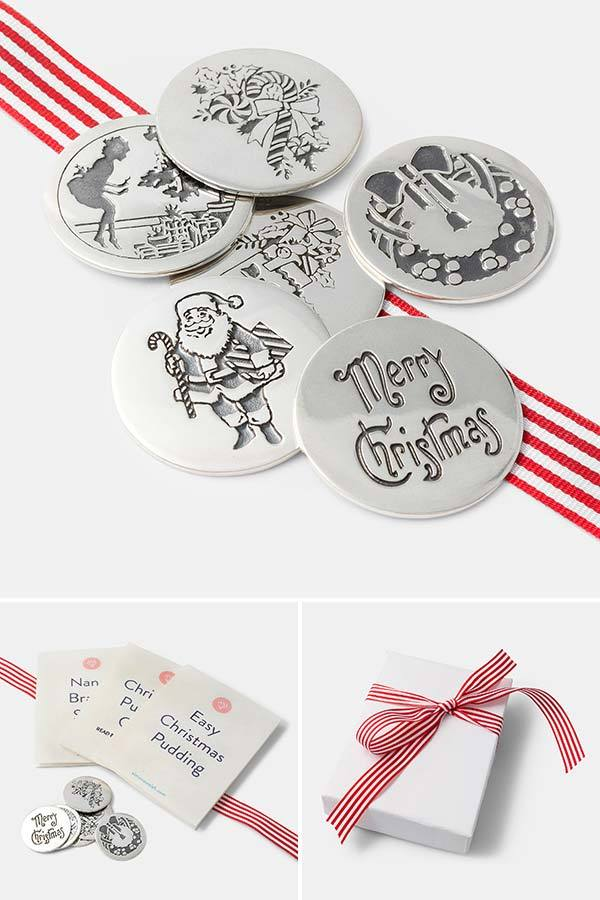 Sterling silver Christmas pudding coins, charms or tokens. Created by Australian jewellery designer Simone Walsh. Shop small and shop handmade.