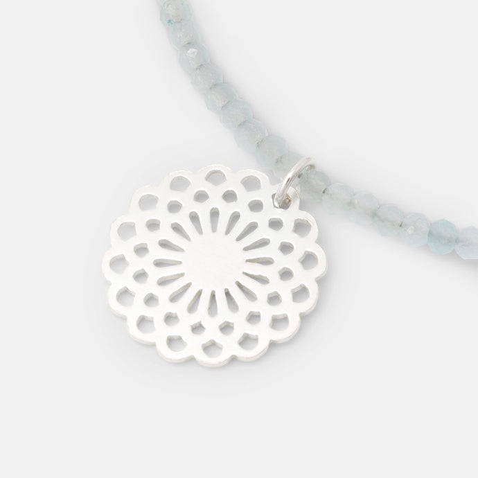Dahlia on blue chalcedony necklace