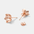Rose gold double tulip stud earrings in our handmade jewelry online store.