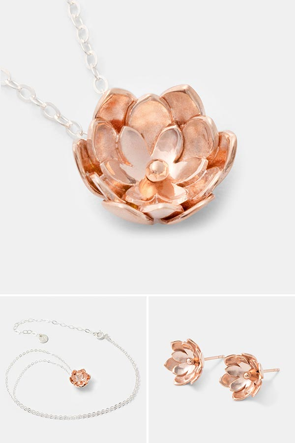 Unique rose gold jewelry: double tulip rose gold pendant necklace on sterling silver chain. Unique handmade jewelry for women.