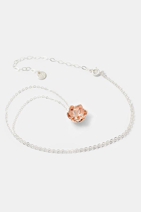 Beautiful rose gold pendant on a sterling silver chain by handmade jewelry designer Simone Walsh. Handcrafted jewelry store online.