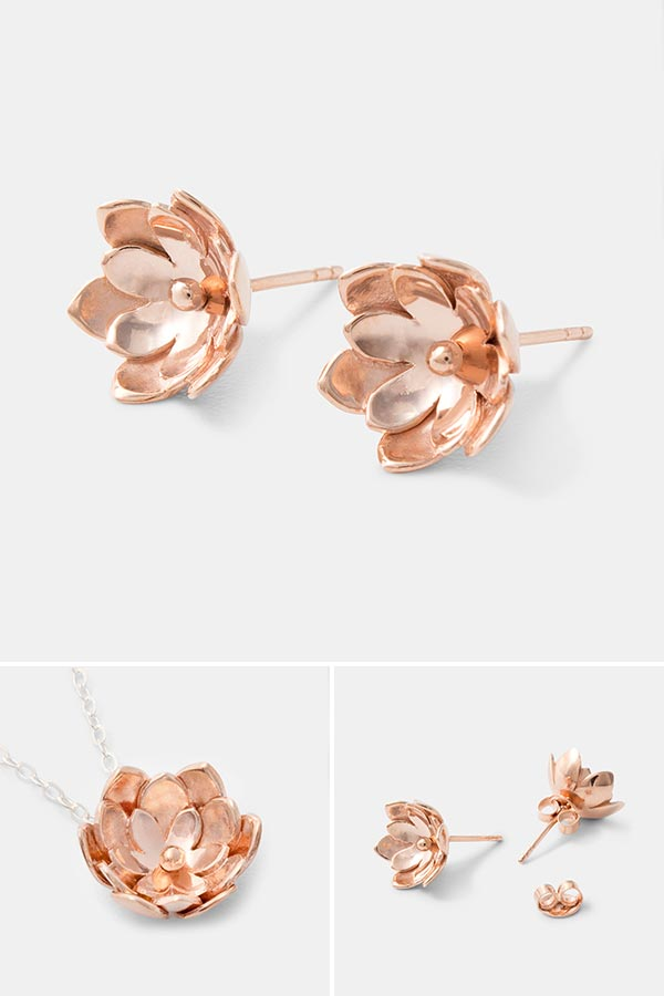 Beautiful rose gold jewelry designs: tulip rose gold stud earrings with matching tulip pendant necklace. Unique handmade jewelry online.