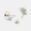 Unique sterling silver stud earrings with rubies in our handcrafted jewelry store online.