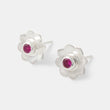 Sterling silver and ruby stud earrings in a mandala flower design by handmade jewelry designer Simone Walsh.