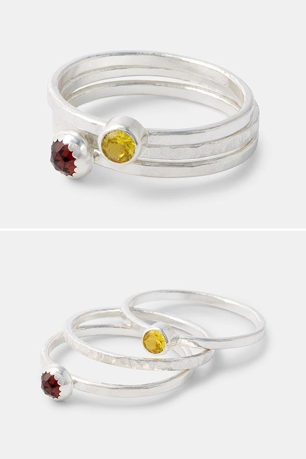 Sterling silver stacking rings with gemstones: golden topaz and garnet gemstone rings handmade in sterling silver. Wear all three, just one or mix and match with our other handmade stackable rings. Handmade silver jewellery by Australian jewellery designer Simone Walsh.