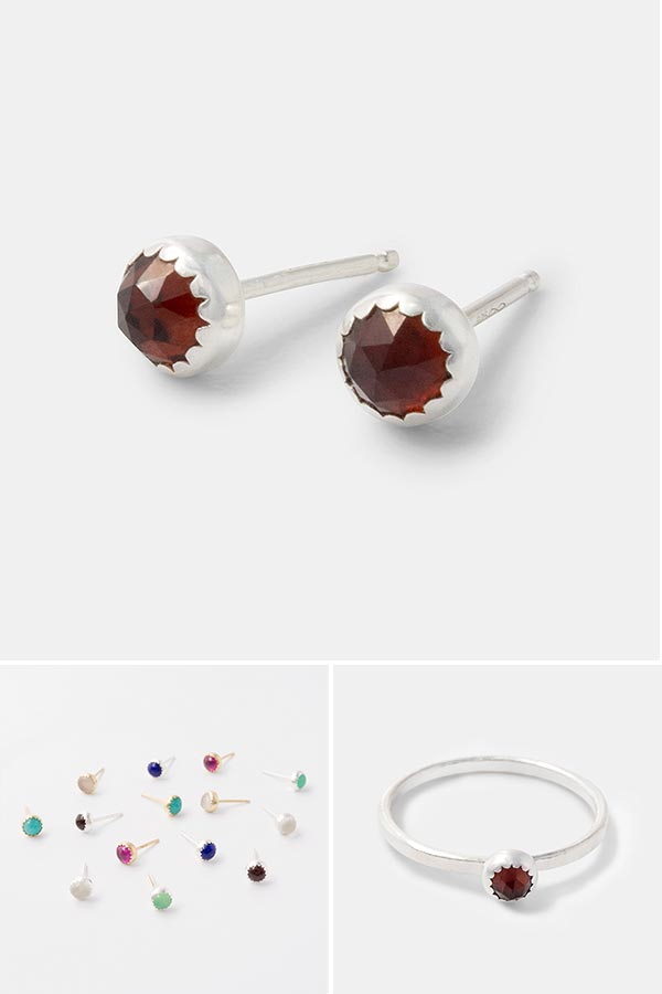 Garnet jewelry: sterling silver and garnet gemstone handmade jewelry designs. Stud earrings and stacking rings.