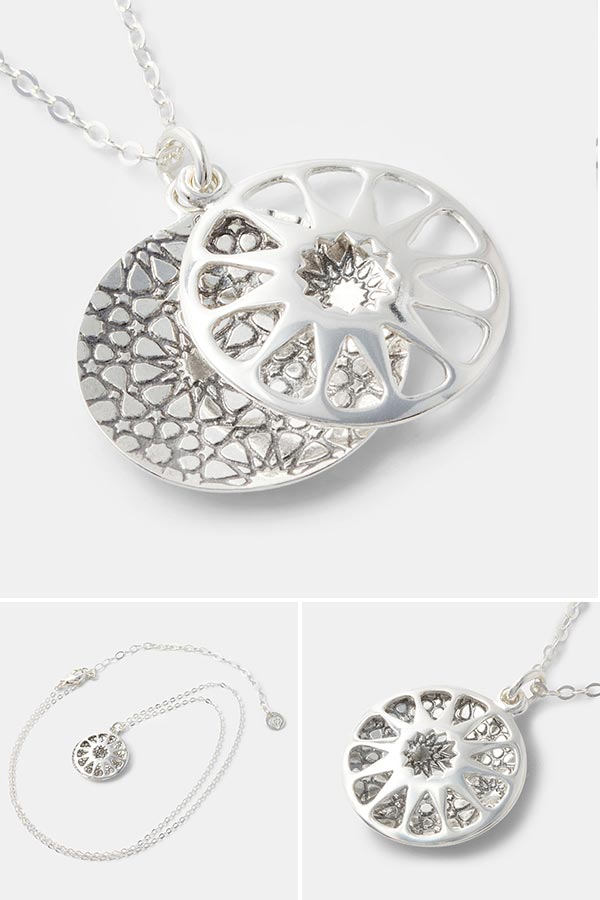 Geometric open locket necklace. Sterling silver necklace with a geometric star pattern. Unique handmade silver jewelry.