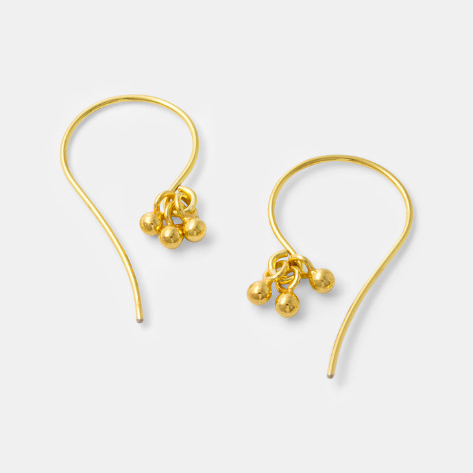 Boho inspired gold drops earrings in our handmade jewelry online shop.