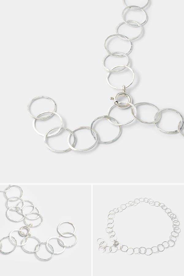Unique handmade silver chain necklace: entirely handmade in sterling silver by jewelry designer Simone Walsh. Beautiful handmade jewelry you'll treasure for years to come. Minimalist jewelry design.