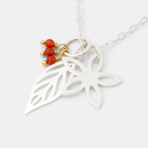 Jasmine, leaf & carnelian necklace