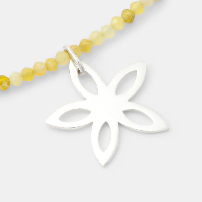 Jasmine on yellow opal necklace