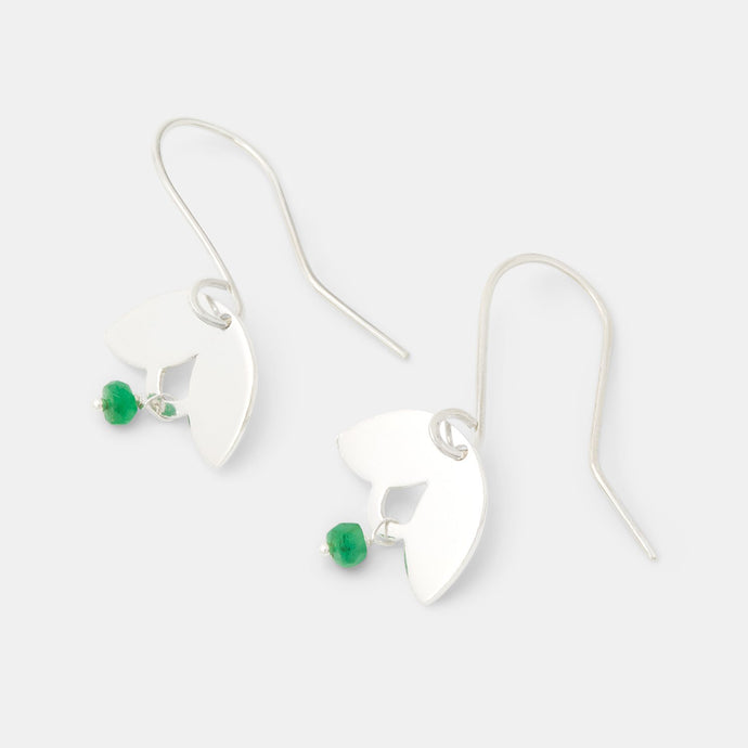Leaves & emerald drop earrings