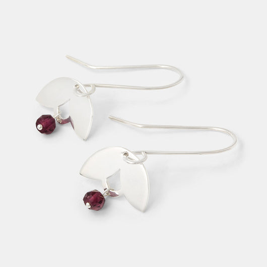 Leaves & rose garnet drop earrings
