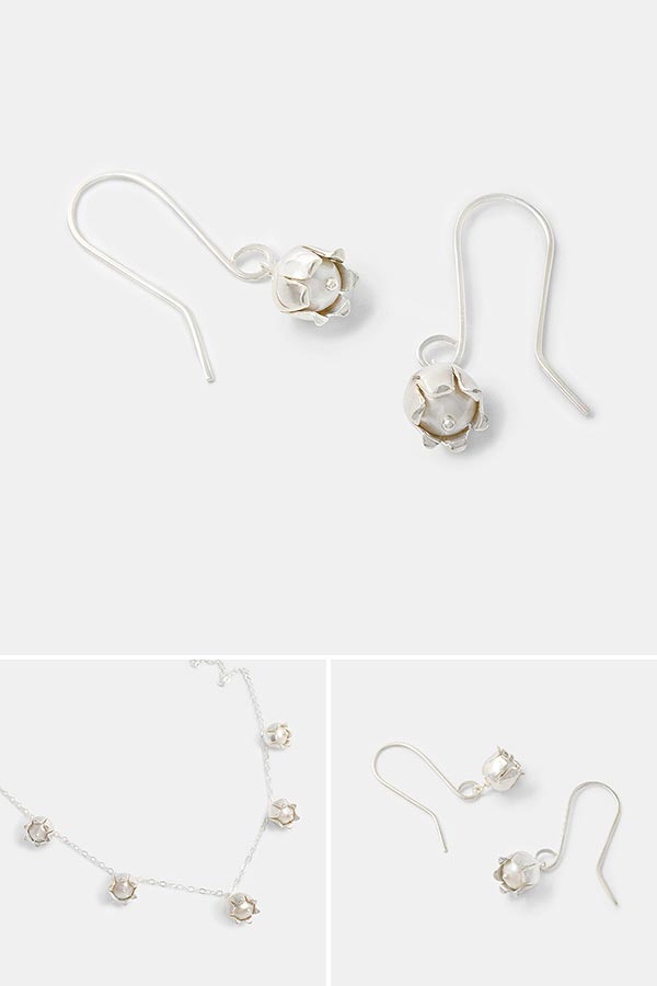 Beautiful silver dangle earrings: lily of the valley flower earrings in sterling silver with pearls. Unique handmade earrings.