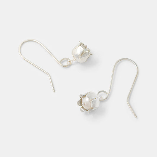 Sterling silver dangle earrings with pearls in a unique lily of the valley flower design by handmade jewelry designer Simone Walsh.