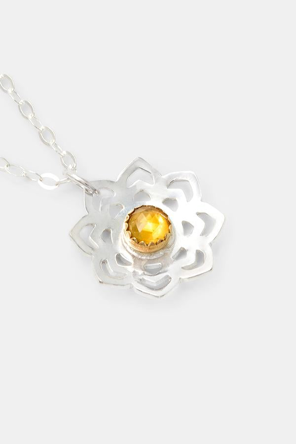 Gorgeous gift idea for women: lotus pendant necklace in sterling silver, solid gold and citrine gemstone. Australian jewellery online.