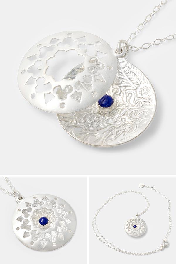 Beautiful statement necklace in sterling silver: unique open locket necklace in sterling silver with a lapis lazuli gemstone. Unique handmade silver jewelry for women. Makes a beautiful gift.