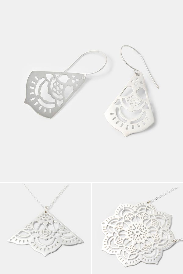 Beautiful handmade silver jewelry: unique mehndi dangle earrings in sterling silver. Unique bridal jewelry or to dress up any outfit.