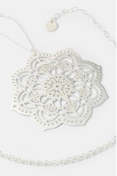 Perfect jewelry for dressing up: mehndi mandala statement necklace in sterling silver. Unique handmade silver jewelry.
