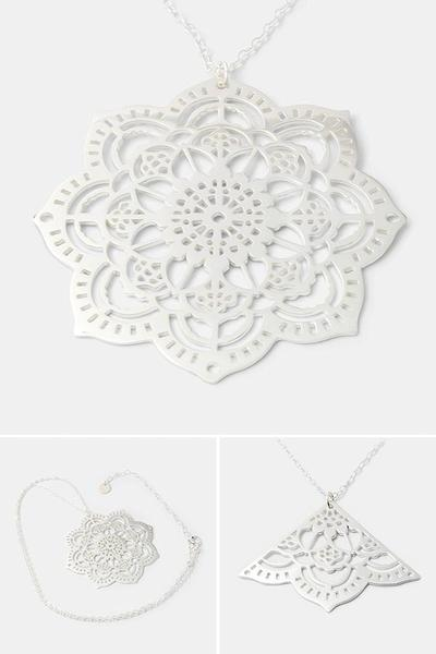 Mehndi mandala necklace: unique statement jewelry in sterling silver from our handmade silver jewelry store.