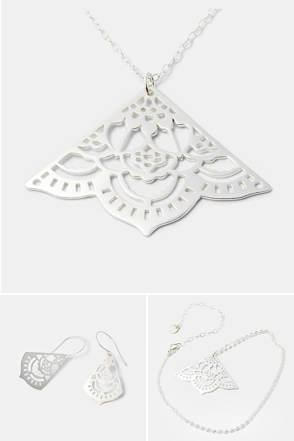 Beautiful silver handmade jewelry: unique mehndi pendant necklace in sterling silver. Handmade jewelry store online.
