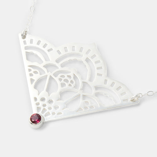 Handmade silver jewelry: sterling silver and rose garnet pendant necklace: unique bridal jewellery for unique weddings by handmade jewelry designer Simone Walsh.
