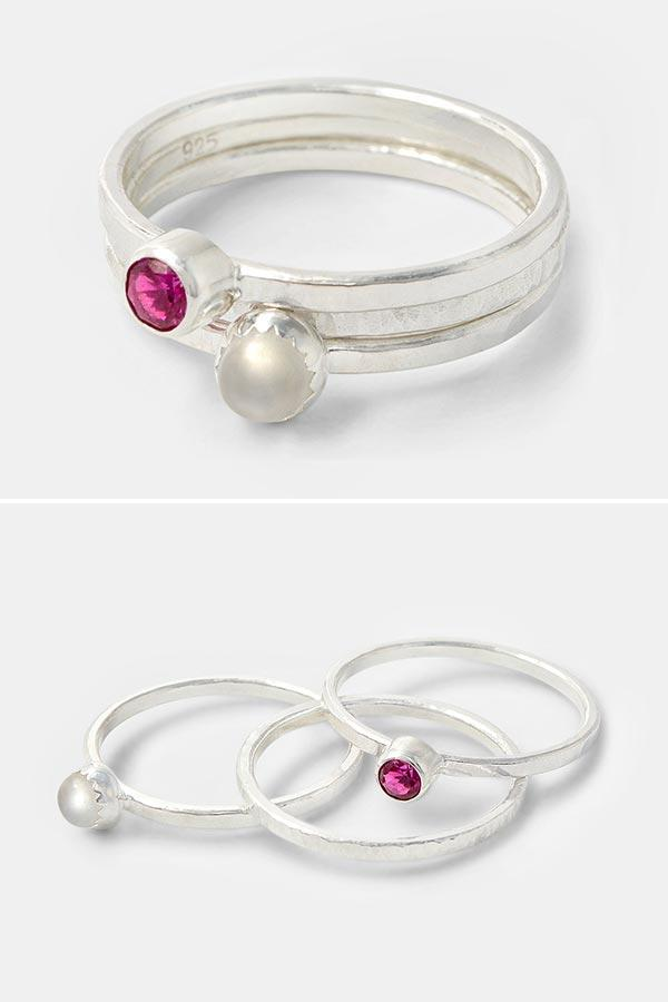 Handmade silver staking rings: moonstone and ruby gemstone stacking rings set handmade in sterling silver. Created by Australian jewellery designer Simone Walsh.