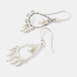 Handmade sterling silver chandelier earrings with pearls by handmade jewelry designer Simone Walsh.