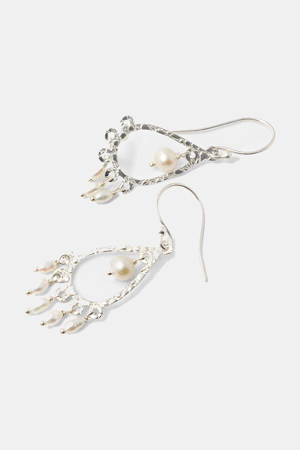 Handmade silver jewelry: unique pearl and silver chandelier earrings in our handmade jewelry store online.