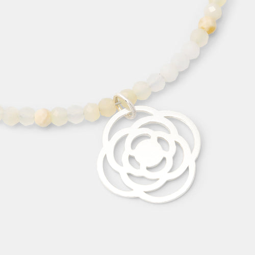 Poppy on white opal necklace