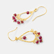 Handmade ruby and gold dangle earrings in our online handmade jewelry shop.
