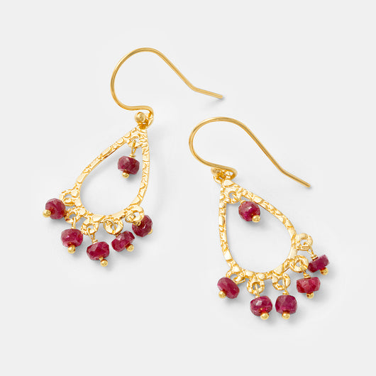 Unique handmade chandelier earrings in gold and rubies by handmade jewelry designer Simone Walsh.
