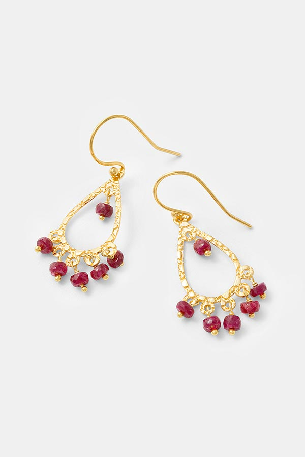 Handmade gold jewelry: unique gold vermeil and ruby chandelier earrings. Beautiful gold dangle earrings in our handmade jewelry store.