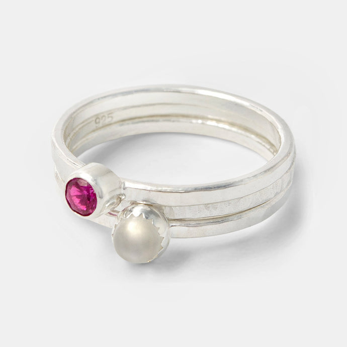 Ruby and moonstone stacking rings set in sterling silver handmade by Australian jeweller Simone Walsh.