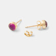 Handmade designer jewelry: ruby gemstone and gold stud earrings in our handmade jewelry store.