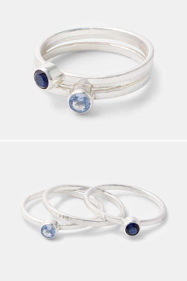 Aquamarine and sapphire jewellery: sterling silver stacking rings set with aquamarine and sapphire gemstones. Handmade rings by Australian jewellery designer Simone Walsh.