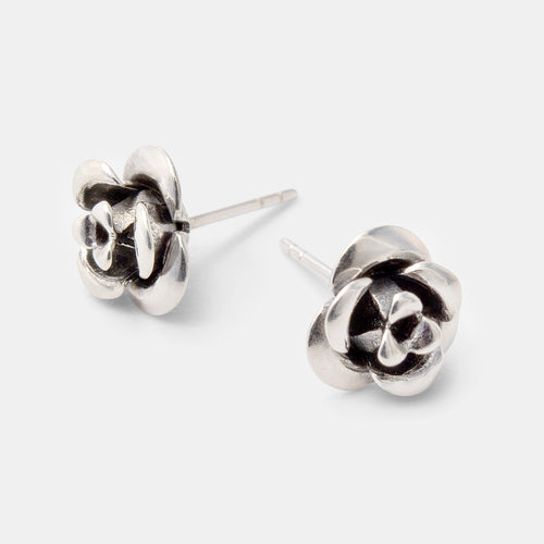 Shapely rose sterling silver stud earrings by handmade jewelry designer Simone Walsh.