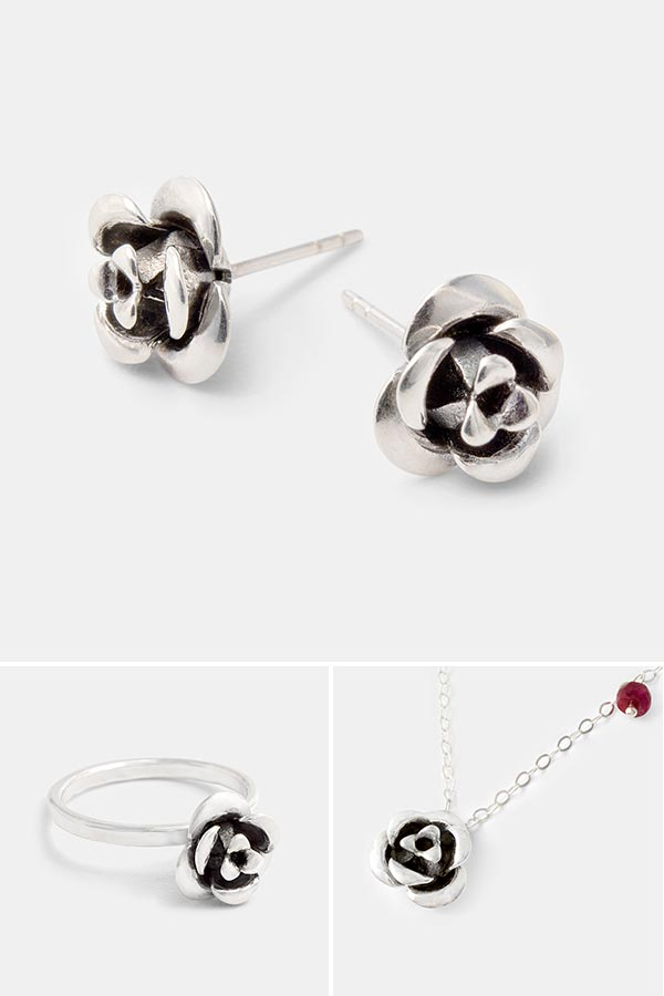 Silver rose stud earrings: unique handmade earrings in sterling silver with a rose design. Handmade silver jewelry store online.