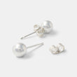 Silver ball stud earrings: large