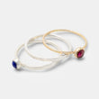 Gold and sterling silver stacking rings with gemstones by handmade jewelry designer Simone Walsh.